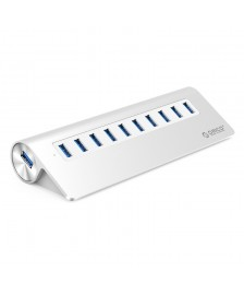 Orico 10 Θύρες USB3,0 Hub Αλουμινίου για Smartphones, Tablets, Laptops, Desktops, and Other Apple Devices - Ασημί (M3H10-V1-SV)